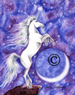 Moon Glow Unicorn Watercolor Painting